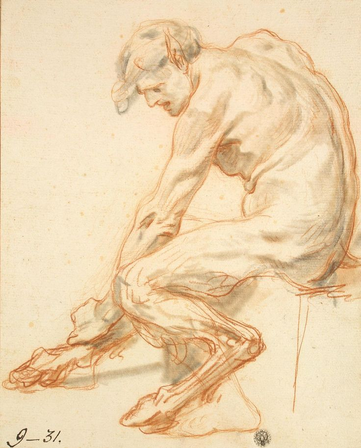 ean-Baptiste Greuze – Study of a Faun, before 1755, red and black chalk | Hermitage Museum, St. Petersburg