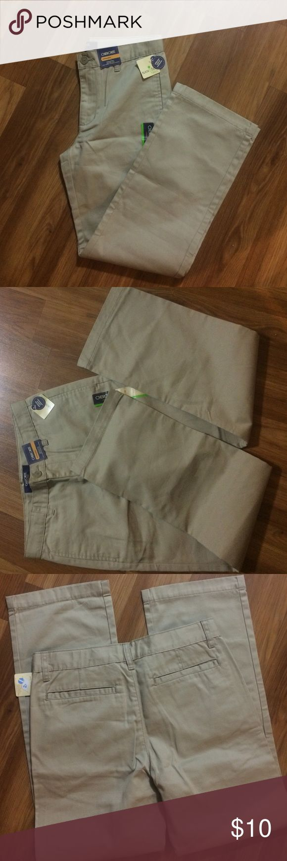 Cherokee ultimate school uniform pants Nice boys pants,ultimate Khaki Cherokee Bottoms