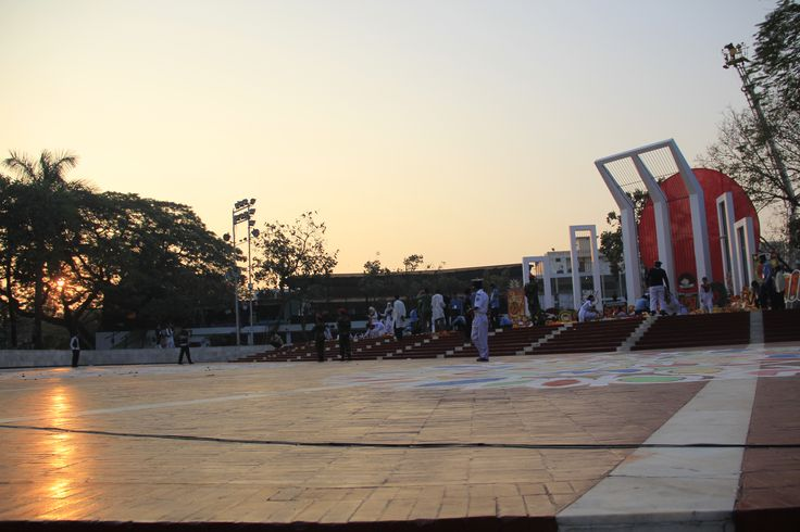 """The Shaheed Minar (Bengali: শহীদ মিনার Shohid Minar lit. """"Martyr Monument"""") is a national monument in Dhaka, Bangladesh, established to commemorate those killed during the Bengali Language Movement demonstrations of 1952."""