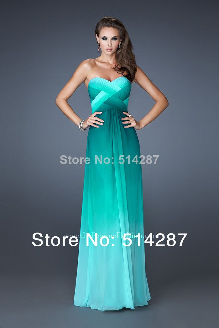 Sweetheart Pleat Cross Back Floor Length Straight Gradient Coloful Dress 2014 New ArrivaL Prom Dresses Evening Party Dress