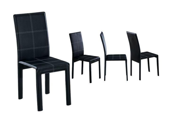 inspirant  chaise simili cuir noir pas cher