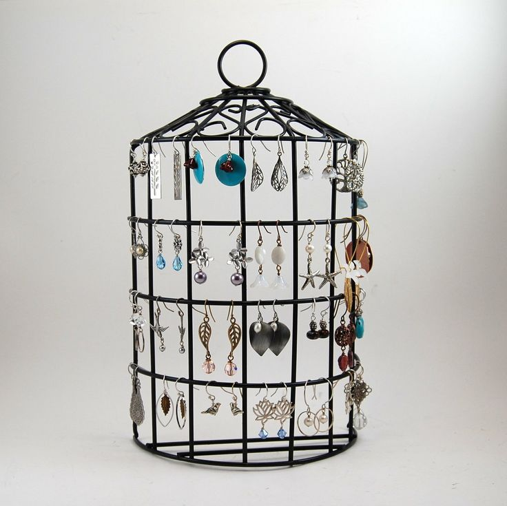 birdcage jewelry stand earring organizer back wire jewelry holder wall hanging or tabletop. Black Bedroom Furniture Sets. Home Design Ideas