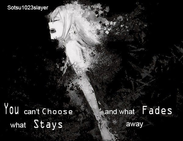 Anime girl, screaming, fades away, pain, hurt, you can't choose, what stays and what fades away