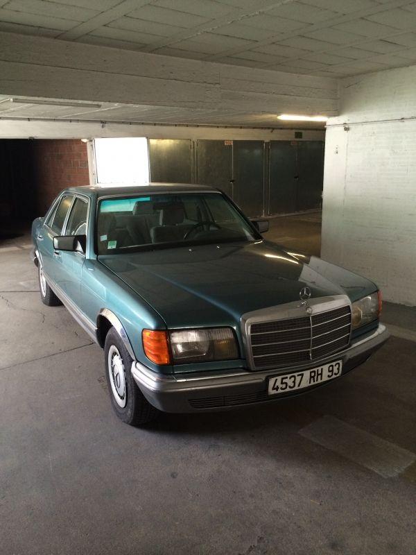 Location voiture Mercedes 280 SE de 1984 verte Le Pré-Saint-Gervais (93310)