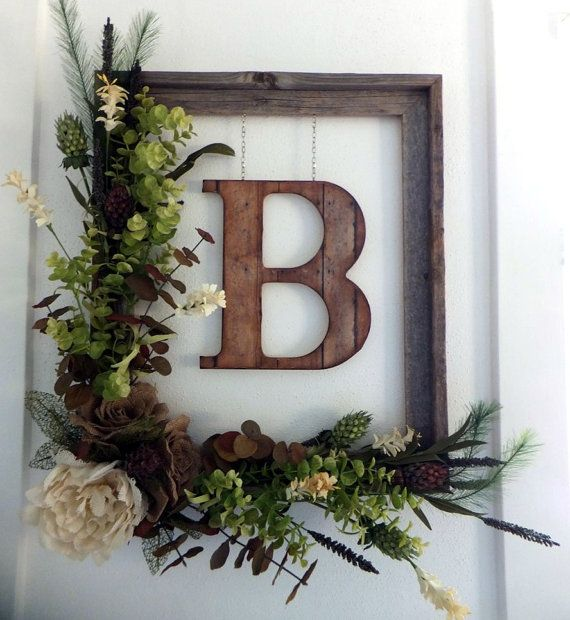 Newlywed Gift, Housewarming Gift, Wedding Gift Flower Garden Rustic Barnwood Floral Monogram Wreath-Burlap Roses Neutral Wedding Decor