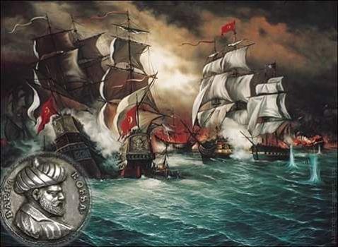 Yunan ressamı Yannis Nikou tarafından çizilen tablo,Akdeniz'i Türk gölü yapan Barbaros Hayreddin Paşa önderiliğinde Cezayir'e gelen Türk gemileri.