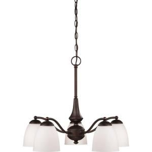 Glomar, 5-Light Prairie Bronze Chandelier with Frosted Glass Shade, HD-5163 at The Home Depot - Mobile