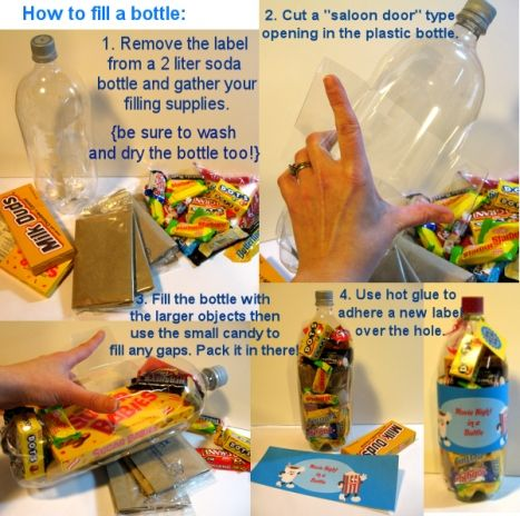 Put bags of microwave popcorn, movie size candy and fun size candy in the bottle too. I will give this along with some wrapped up DVDs as a Christmas gift. Wanna know how I got everything in that bottle? Take a look…