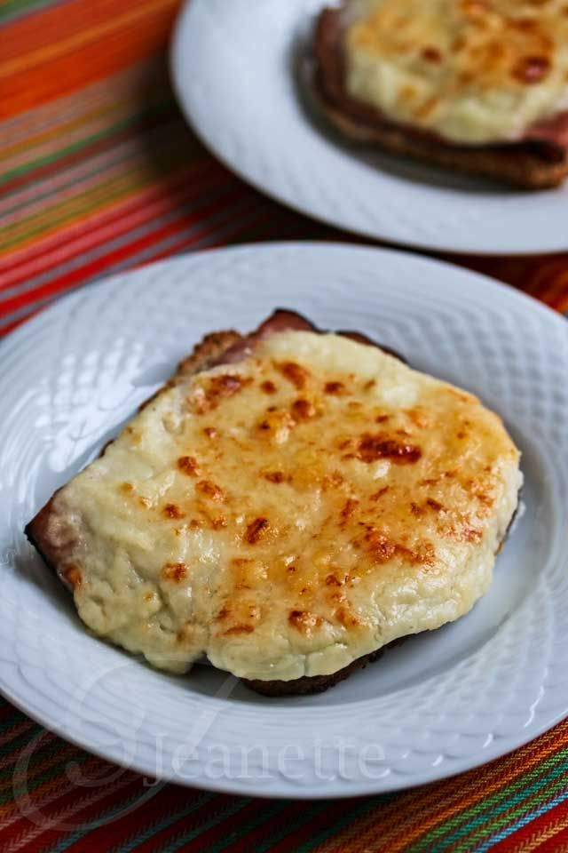 Skinny Croque Monsieur Grilled Cheese © Jeanette's Healthy Living - The sauce is a cauliflower cream sauce as opposed to a bechamel sauce.  That is what cuts the calories in half as well as serving open faced.
