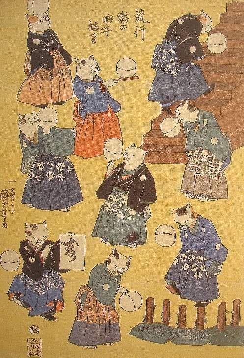 Fashionable Cat Juggler with a Ball - Kuniyoshi 流行猫の曲手まり japanese watercolour kimono design