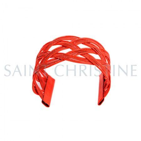 Bracelet Orange Ouvert avec Motifs Tissé en Métal de Couleur Fluorescente