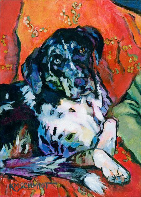 Louisiana Artist Karen Mathison Schmidt: Ensconced II: Roadiepost-impressionist illustration Catahoula Leopard Dog/Labrador Retriever mix dog painting • comfy cozy dog art • animal portrait of a black & white spotted dog on a red floral quilt