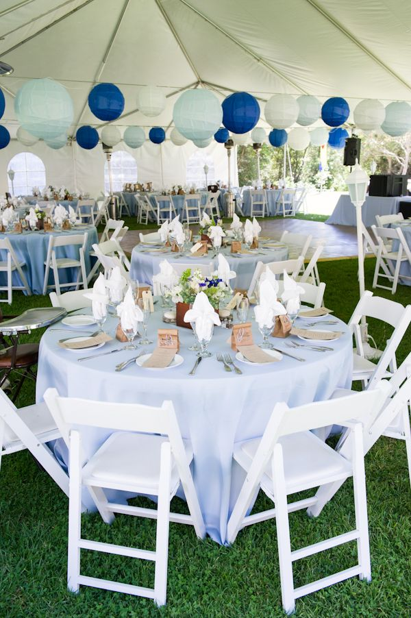 Beautiful blue reception decor, with Navy, Ice Blue & White Premium Paper Lanterns ~ Photo by Caroline Tien-Spalding of Sphynge Photography.