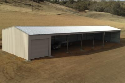 Open Front Farm Shed | Elevated view of a Wide Span Sheds design.