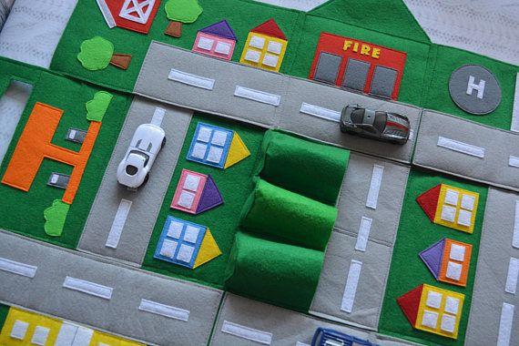 Filz Auto Spielen Matte Kinder Strasse Karte Spielen Matte Etsy Toy Car Storage Cool Toys For Boys Play Mat