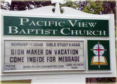 Sign maker on vacation - funny church sign