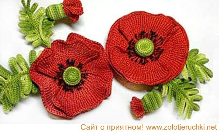 Crochet poppies and leaves