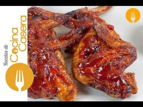 Alitas de pollo al horno con salsa barbacoa | Recetas de Cocina Casera - Recetas fáciles y sencillas