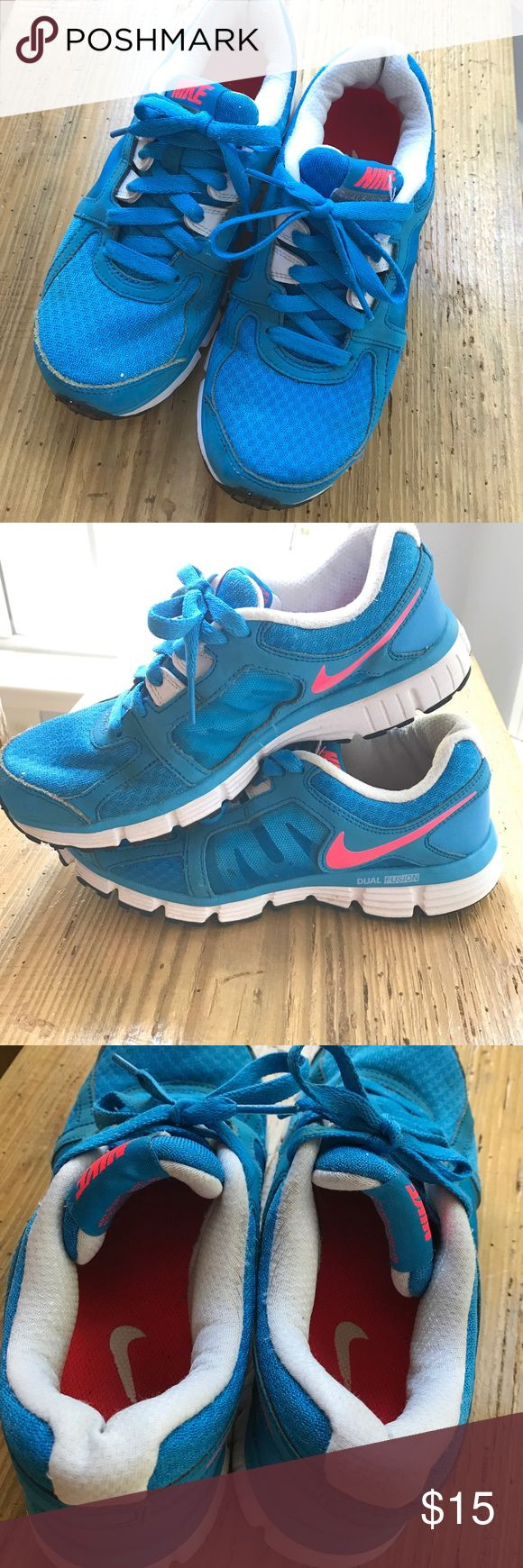 Nike Dual Fusion ST2 Neon blue and pink. Comfy, very gently used, freshly laundered. Some stains still remained but a magic eraser may remover. GUC. Nike Shoes Sneakers