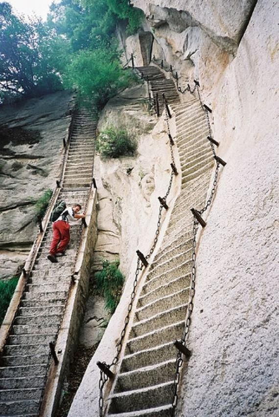 Huashan takes no climbing expertise to ascend but it's considered the most dangerous hike in the world. Better hold on.