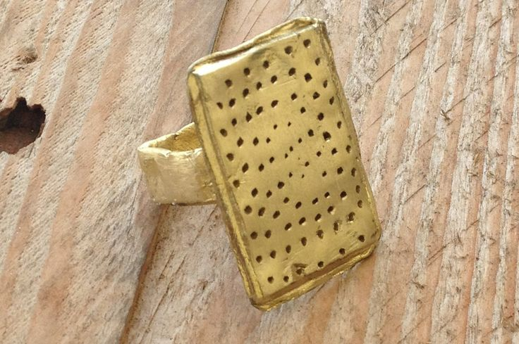 Brass (or sterling silver) ring, primitive style, US size 8.5 by RingTheRing on Etsy