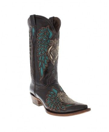 """Women's 12"""" Black/w Turquoise Inlay Cowboy Boots by Pecos Bill"""