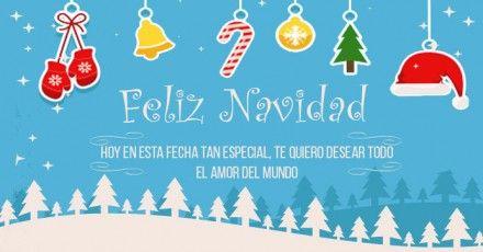 Imagen navideña con fondo celeste blanco y mensaje