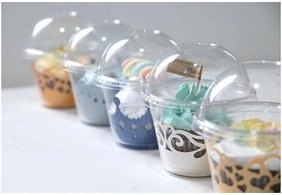 50pcs Clear Cupcake Container Cup Box Muffin Browning Chocolate Cookies