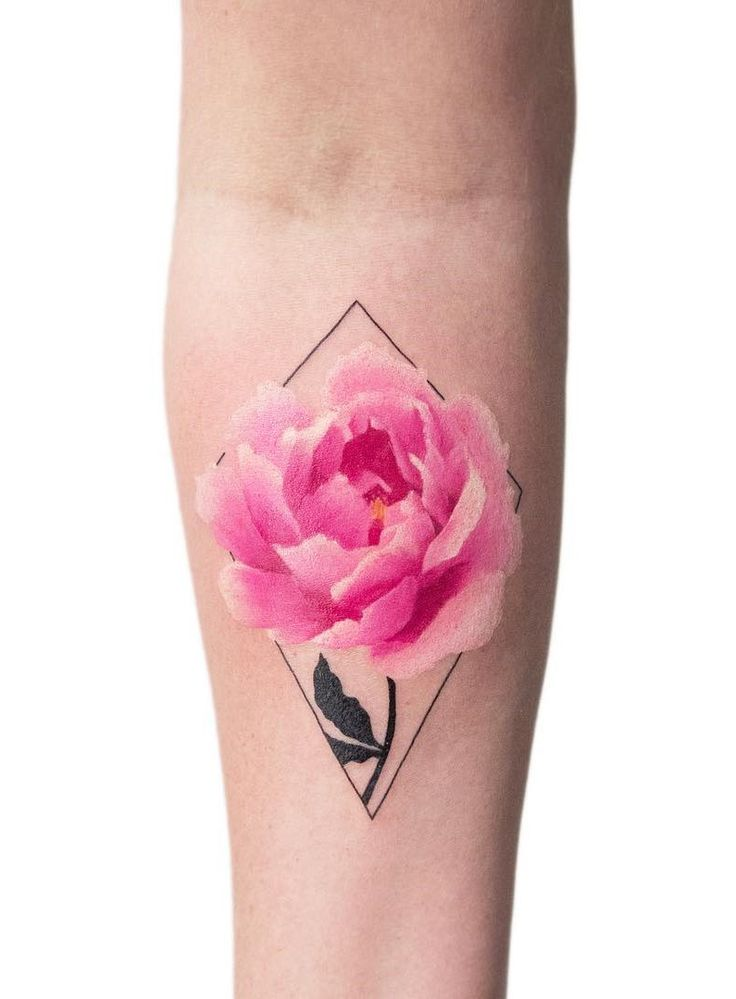 Small colored half sleeve rose flower tattoo