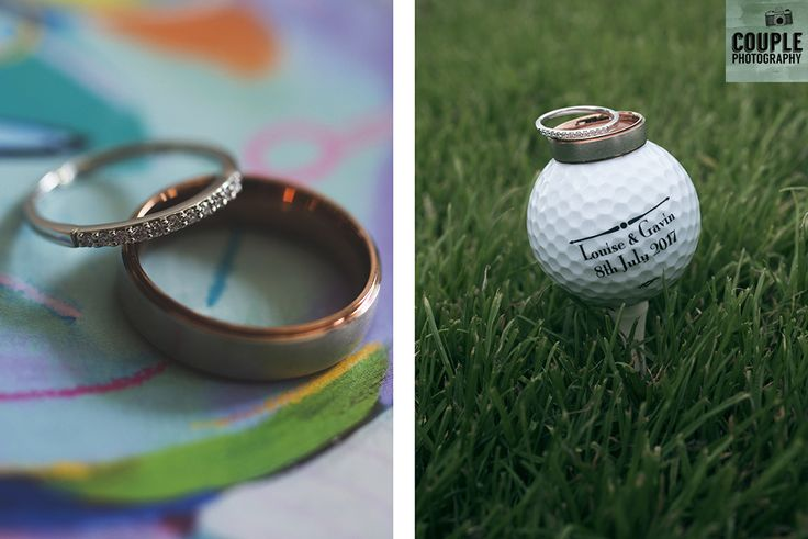 The wedding rings of our golf loving couple. Weddings at Tulfarris Hotel & Golf Resort photographed by Couple Photography.