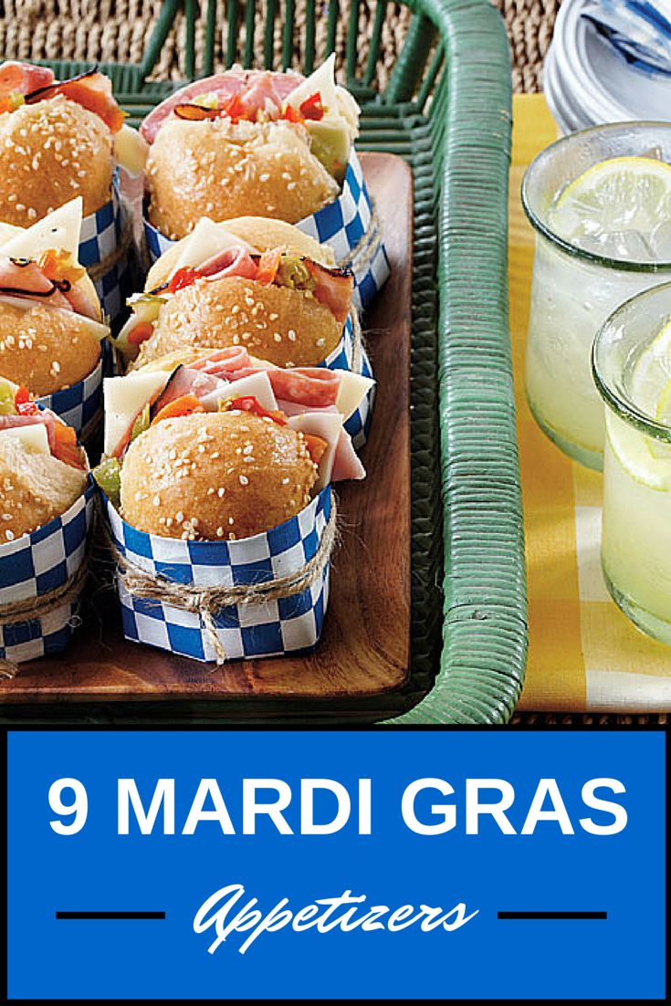 9 Mardi Gras Appetizers   Start your party off with delicious Mardi Gras appetizers like Mini Muffulettas, Creole Deviled Eggs, and more!