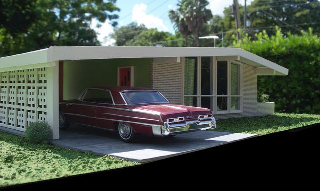 Miniature Mid-Century Modern House | Flickr - Photo Sharing! A scale model, believe it or not!