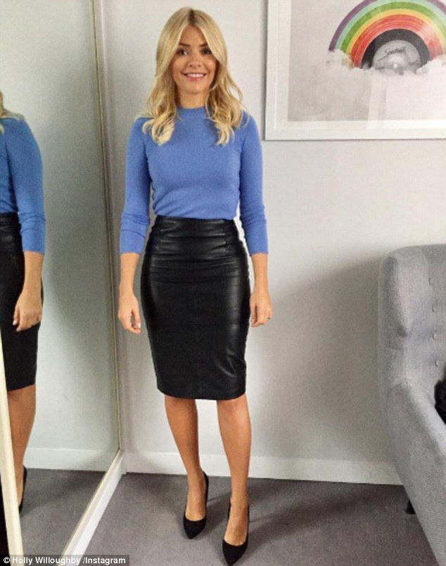 In shape: Holly Willoughby showed off her slim figure in a leather skirt on Monday morning...