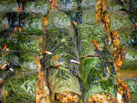 cuisine sauvage: feuilles de consoude farcies à la berce et céréales http://cuisinesauvage.blogspot.fr/search/label/consoude