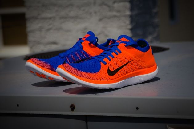 cheap for discount 688af 3d077 ... Nike Free Flyknit 4.0 Game Royal Black – Hyper Crimson Sneakers  Pinterest Nike free flyknit, ...