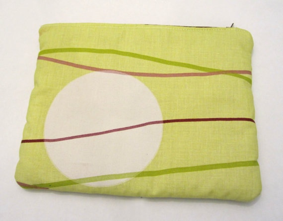 Maxi Makeup bag Acid green and mustard cotton fabric by ShopF4m, $18.00