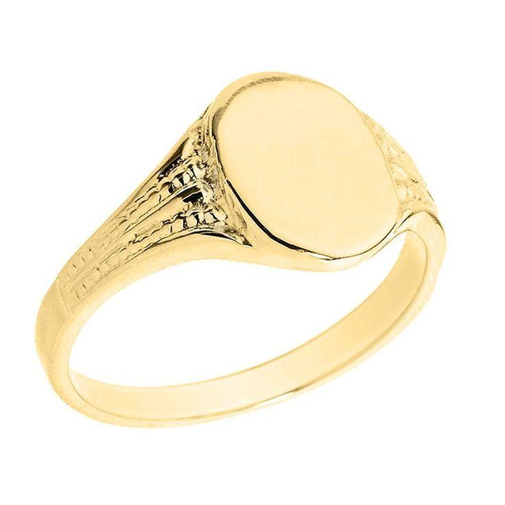 Pequeños Tesoros - Anillos Hombres 10 Kt Oro 471/1000 Oro Amarillo Ovalada Engravable Sortija De sello: Amazon.es: Joyería