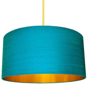 Indian Silk Dupion Lampshade. Aqua And Gold Lining - dining room