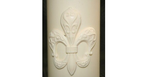 Fleur De Lis Fondant Candle Mold - Most designs are held in stock. Should you require a mold that is out of stock, we can pour a fresh one in less than 24 hours. If you require multiples of one design, we will tell you at the time of order the exact day your molds will be posted.