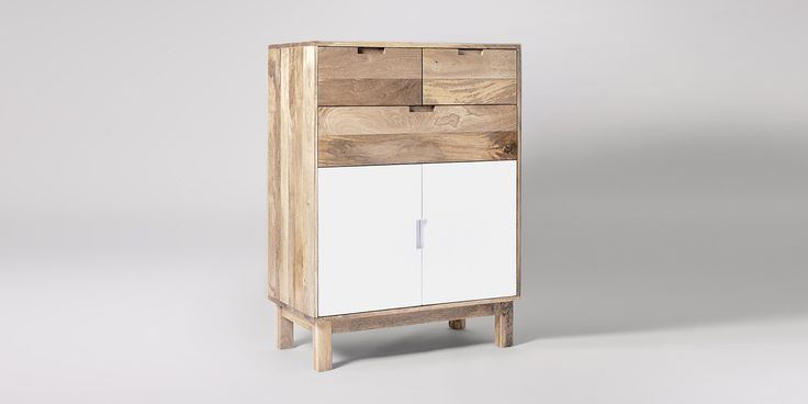 Swoon Editions Cabinet, mid-century style in Dover White - £469
