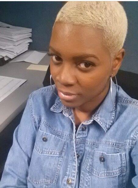 Natural hair. Big chop. Blonde hair. Twa.