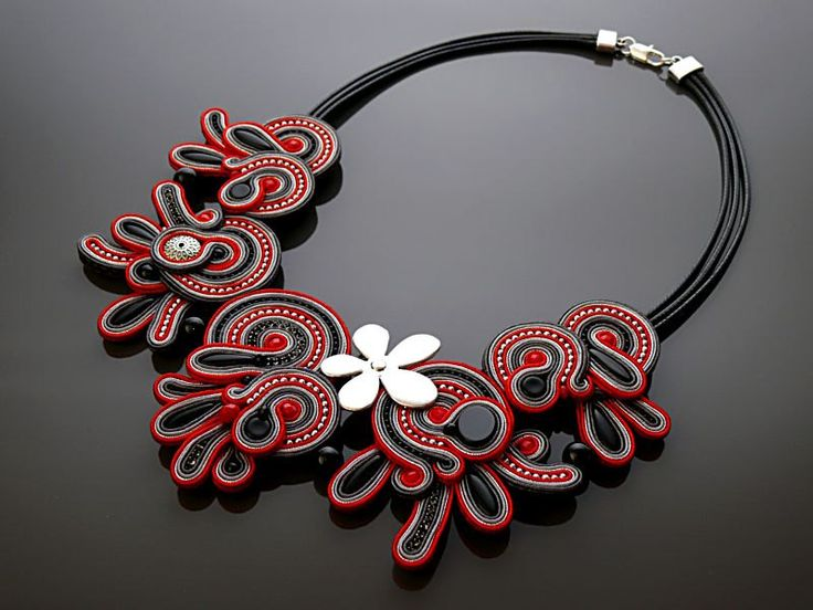 Red black graphite necklace soutache with Onyx. by ANBijou on Etsy