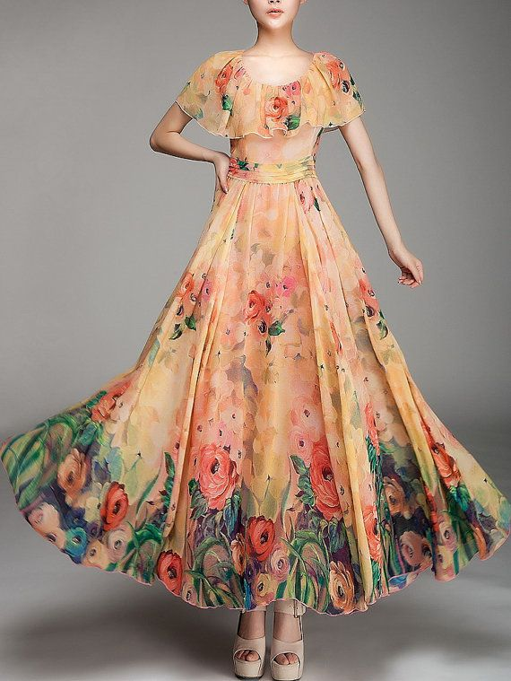 Summer chiffon long dress lady women clothing gown dress (FGK140)