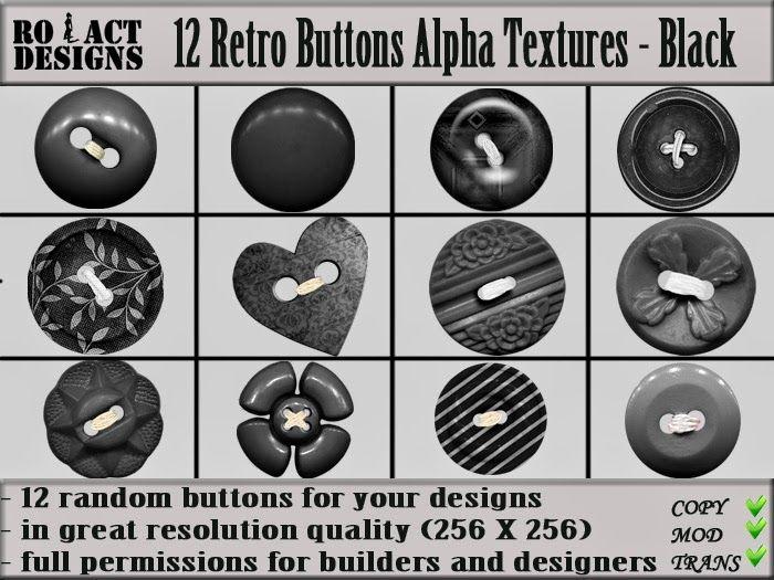 Ro!Act Designs 12 Retro Buttons Alpha Textures - Black