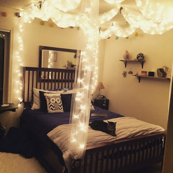 DIY Bed canopy with lights  DIY  Pinterest  Canopy Lights and Bedrooms