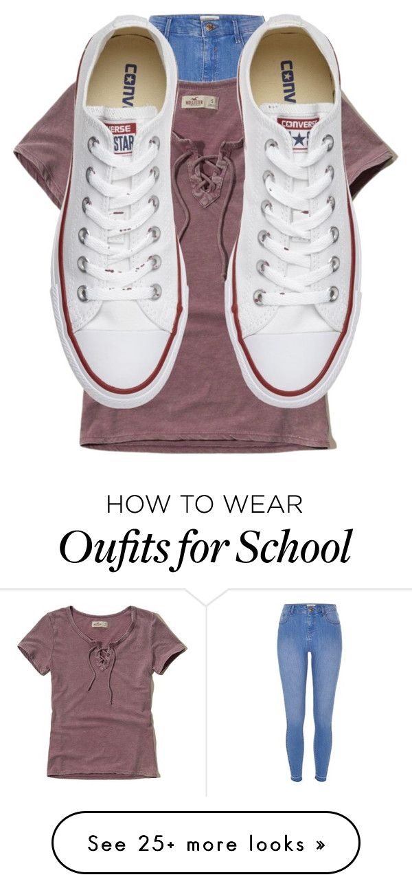 Made at school by lolgirl07 on Polyvore featuring River Island, Hollister Co. and Converse