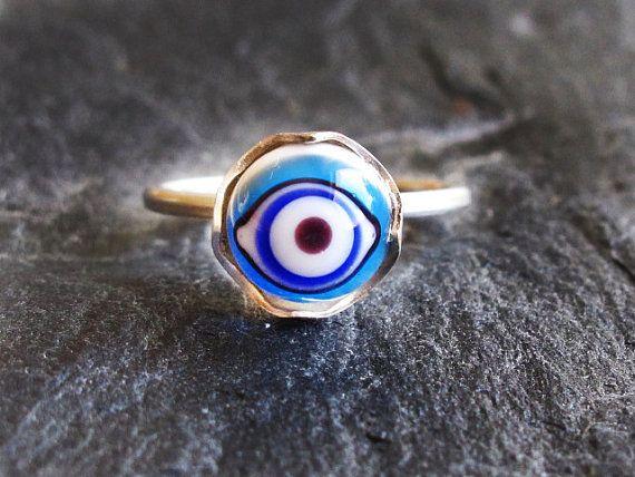 Sterling Silver Evil Eye Lampwork Glass Ring by GlassHouseLampwork