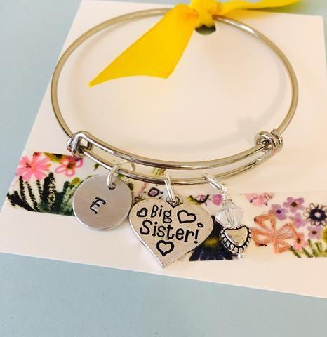 Child Adjustable Bangle Bracelet, Big Sister Bracelet, Personalized Initial Bracelet, Little Girls Bracelet, Young Girl