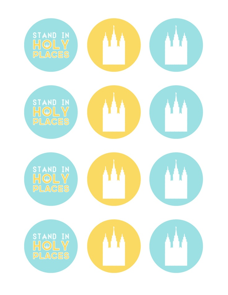 Stand Ye In Holy Places (Young Women 2013 LDS Mutual Theme) 2 inch Cupcake / Food Toppers, Scrapbooking, Collage. $3.00, via Etsy.