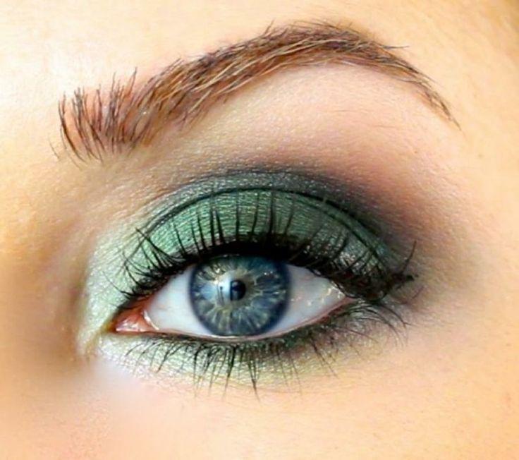 ombre à paupières en vert, eye-liner noir et mascara - idées maquillage pour l'été